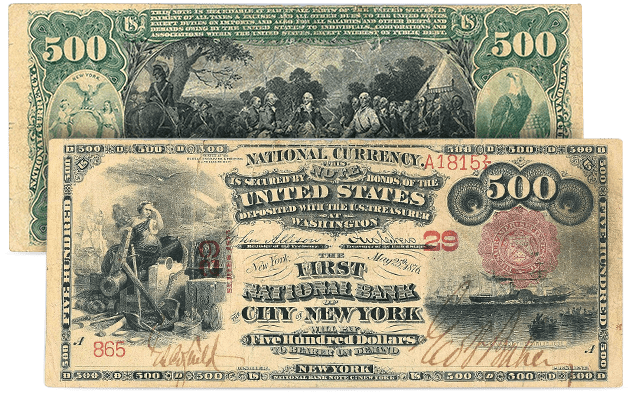 New York, New York - 1875 $500 National Bank Note