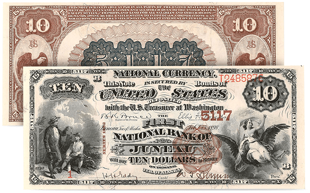 Juneau, Alaska Territory - 1882 $10 National Bank Note